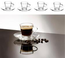 4 Klar Klein Glas Espresso Kaffee Tassen & Untertasse 80ml 4er Set Verpackt
