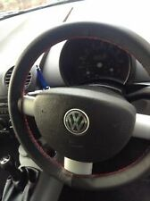 FITS VW NEW BEETLE BLACK LEATHER STEERING WHEEL COVER RED STITCH TOP QUALITY