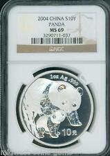 2004 PANDA SILVER COIN 1 Oz. 10Y 10-Yuan 10-Yn CHINA NGC MS69