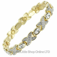 NEW Ladies Magnetic Therapy Bracelet with Clear Crystals - FREE Gift Box