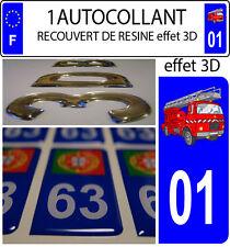 1 sticker plaque immatriculation auto DOMING 3D RESINE CAMION DE POMPIER DEPA 01