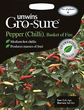 Unwins Pictorial Packet - Vegetable Pepper (Chilli) Basket of Fire F1 - 6 Seeds