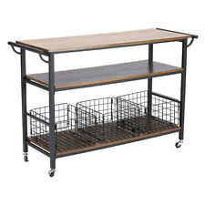 Kitchen Islands on Wheels Portable Large Rustic Industrial Coffee Bar Cart