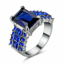 7.8ct Princess Blue Sapphire Band 10kt Black Gold Filled Wedding Ring Size 8