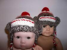 "Sock Monkey Hand Knit Hat made for15"" and 18"" American Girl Doll Clothes New"