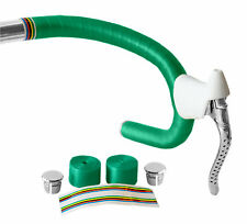 Green Shiny Bicycle Handlebar Tape Complete with Chrome End Plugs Fixie Racer