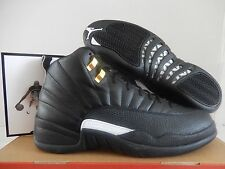 "NIKE AIR JORDAN 12 RETRO ""THE MASTER"" BLACK-WHITE-MET GOLD SZ 10 [130690-013]"