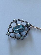 Delightful Antique Victorian Aquamarine, Rose Diamond & Pearl Set Brooch