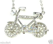 Bicycle W Swarovski Crystal Kids Bike Bicyclist Gift New Pendant Necklace