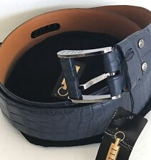 Zilli Men's Navy Crocodile Belt Size 100/ 40 New With Tag Authentic