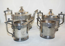 ANTIQUE REED AND BARTON 4 PCS TEA SET, TEAPOT, WASTE, SUGAR BOWL, SILVER PLATE