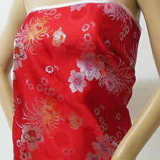 Chinese brocade fabric red basic chrysanthemum n longevity by yard-cbs-532