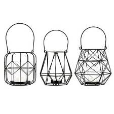 Laternen Set 3 tlg. Metallgeflecht Schwarz / Teelichthalter, Windlicht