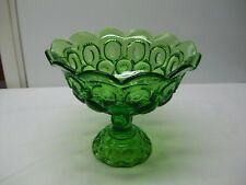 Vintage Moon and Stars Green Glass Compote or Candy Dish by L. E. Smith - Large!