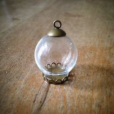 DIY Mini Clear Globe Glass Bottle Pendant Antique Bronze  Apothecary Terrarium