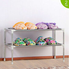 2 Tier 6 Pairs Plastic Shoes Storage Rack Stand Organizer Cabinet Shelf Easy DIY