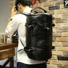 Men black genuine leather Sports Bag shoulder bag barrel bag travel backpack