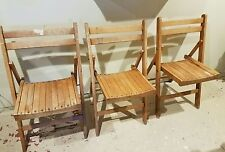 Vintage Antique Wooden Folding Chairs Set of 3 Wood Seats chair