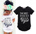 Summer Kids Baby Girls Vogue Tees Cotton Short Sleeve T-shirt Tops Clothes 2-7Y