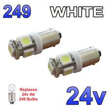 2 x White 24v LED Side Light 249 BA9s T4W 5 SMD Bayonet Bright Bulbs HGV Truck