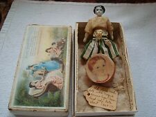 Early Antique china dollhouse size doll-original clothes-her own box/jewelry