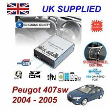 PEUGEOT 407sw MP3 USB SD CD AUX Input Adattatore Audio Digitale Caricatore CD modulerd 3