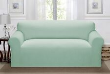 Madison Luxury Stretch Pique Sofa Slipcover, Waffle Textured Pattern SeaGlass