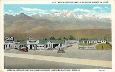 Postcard Modern Rodeo Cottage Camp Motel Colorado Springs on Denver Highway CO