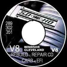 FORD V8 260 289 302 351 WINDSOR-CLEVELAND REBUILD REPAIR WORKSHOP MANUAL DISC