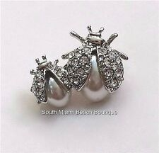 Silver Plated Crystal Pearl Ladybug Pin Brooch Insect Elegant Lady Bug USASeller