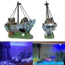 Aquarium Ornament Wreck Sunk Ship Destroyer Fish Tank Cave Sailing Boat Decor