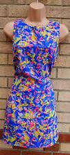GLAMOROUS PURPLE PINK  NEON GREEN FLORAL SMOCK SHIFT TUNIC CAMI TUBE DRESS M 12