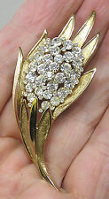 Vintage Jewelry TRIFARI Brooch Brushed Goldtone & Sparkling Rhinestones Fruit