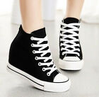 Womens Hidden Wedge Canvas High-Top Lace Up Platform Sneakers Trainers Shoes 9