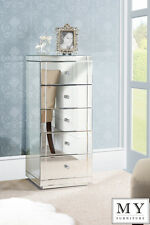 Mirrored Furniture  Tallboy Chest 5 Drawers with Plinth  - From  MY-FURNITURE