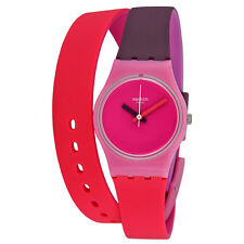 Swatch Fun In Pink Pink Dial Coral and Purple Silicone Ladies Watch LP137