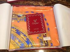 CARTIER SILK LARGE SQUARE SCARF ORANGE/GOLD/BLUE PANTHER CHAIN DESIGN (NEW)