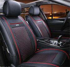 Front Car Seat Covers PU Leather Fits For All 5-Seat Car Black For Year Round