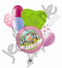 7 pc Baby Girl Woodland Critters Fox Balloon Bouquet Party Animal Shower It's a