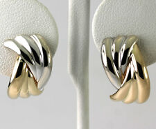 Two Tone 14k White & Yellow Gold Scalloped Wide Band J Hoop Earrings