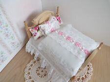 Miniature 1/12th scale dolls house BEDDING SET double bed white/pink eiderdown