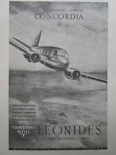 8/1947 PUB ALVIS AERO ENGINES LEONIDES CUNLIFFE-OWEN CONCORDIA ORIGINAL AD