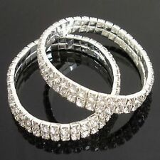 2 Row 88 Clear Crystal White Gold Plated Bracelet