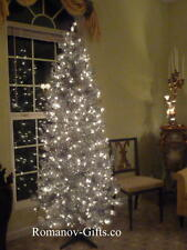 SILVER Slim Pre-Lit  Christmas Tree 7 Ft Tall Mid Century Modern