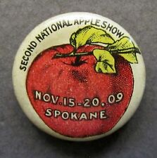 1909 2nd NATIONAL APPLE SHOW Spokane Washington advertising pinback button