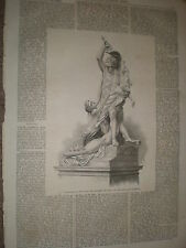 Statue Rape Polyxena by pio Fedi at Florence Italy 1868 old print ref Z1