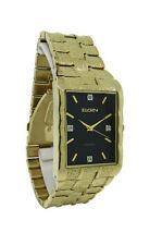 Elgin Diamond FG9031ST Men's Rectangular Gold Tone Analong Bark Pattern Watch