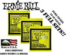 **3 PACK ERNIE BALL 2251 CLASSIC ROCK N ROLL SLINKY ELECTRIC GUITAR STRINGS **