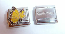 YELLOW BUTTERFLY 9mm Italian Charm +1x Genuine Nomination Classic Link NOVEMBER
