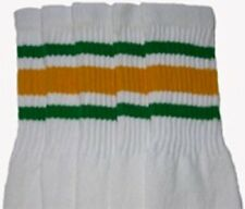 "22"" KNEE HIGH WHITE tube socks with GREEN/GOLD stripes style 3 (22-13)"